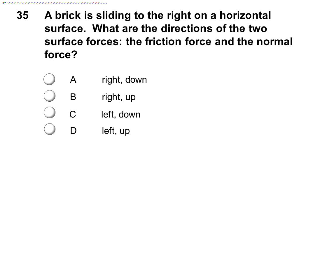 Static friction is the frictional force between two surfaces that are not moving along each other.