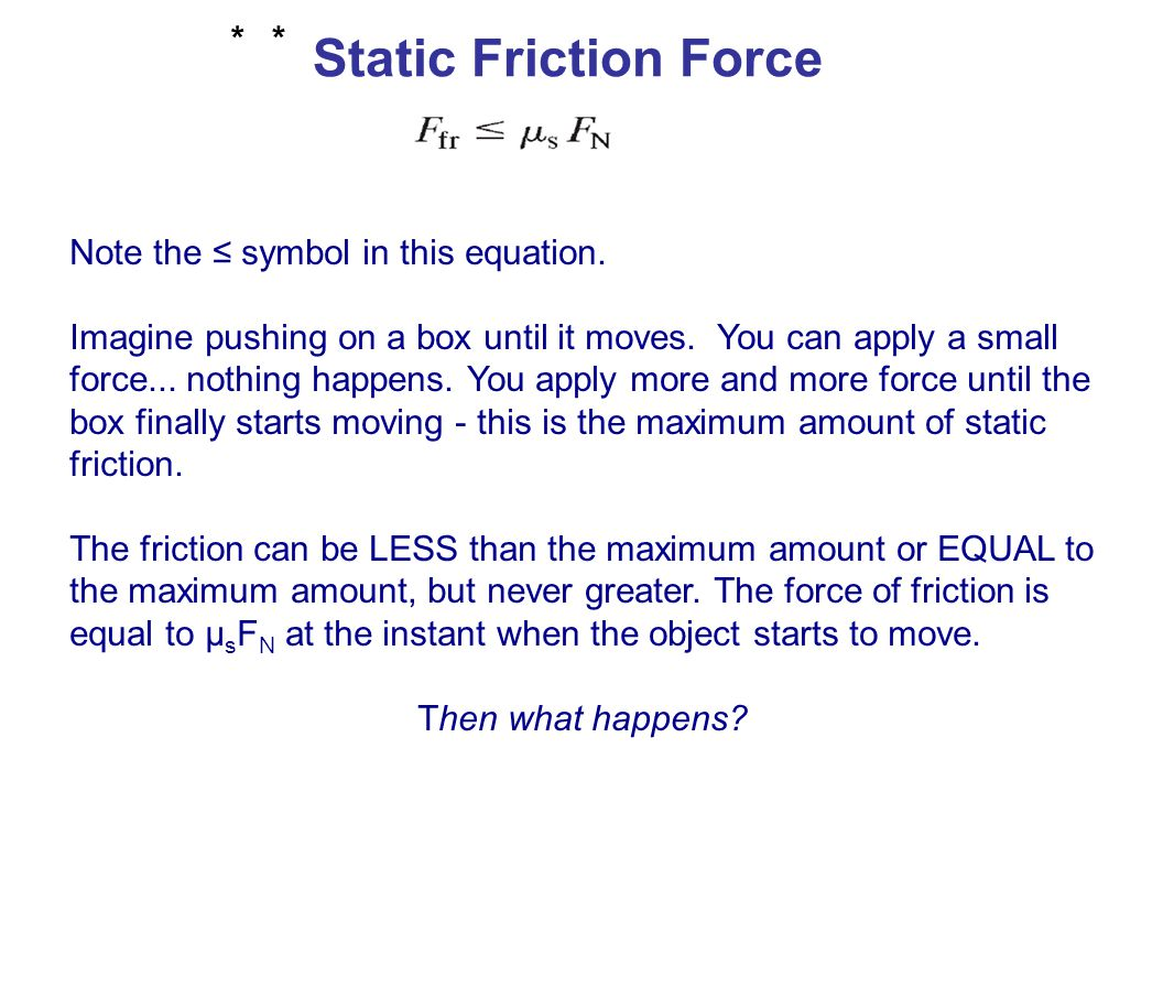 Friction Force The static frictional force increases as the applied force increases, always equal to the net applied force.