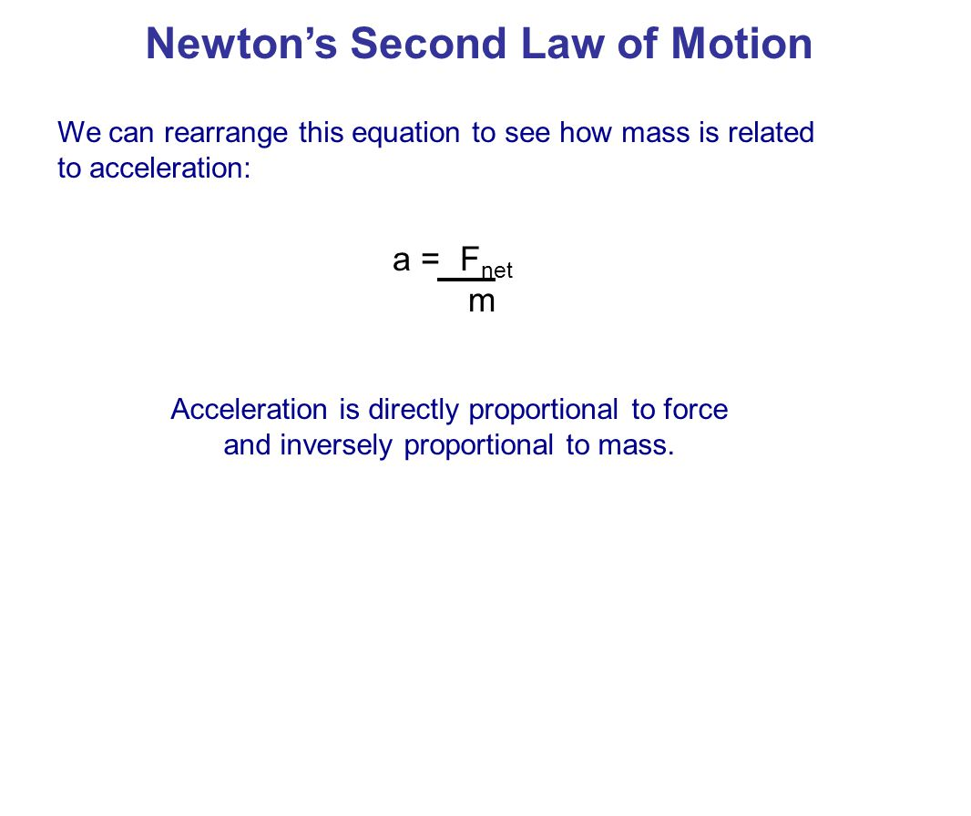 Newton's Second Law of Motion a = F net m When two variables are inversely proportional , it means that if we increase one, the other will decrease.