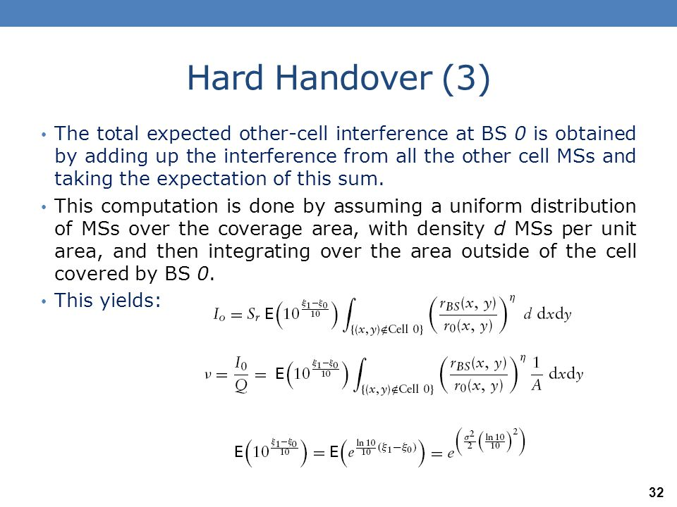 Hard Handover (4) Where we use the fact that ξ 1 −ξ 0 is normally distributed with mean 0 and variance σ 2.
