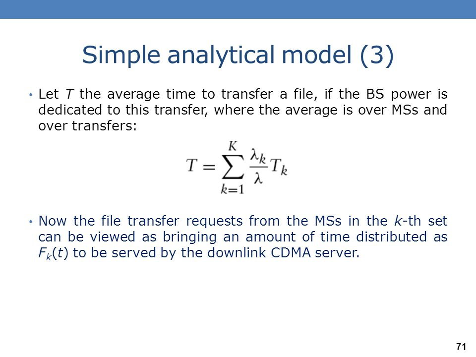 Simple analytical model (3) The model for downlink file transfers.