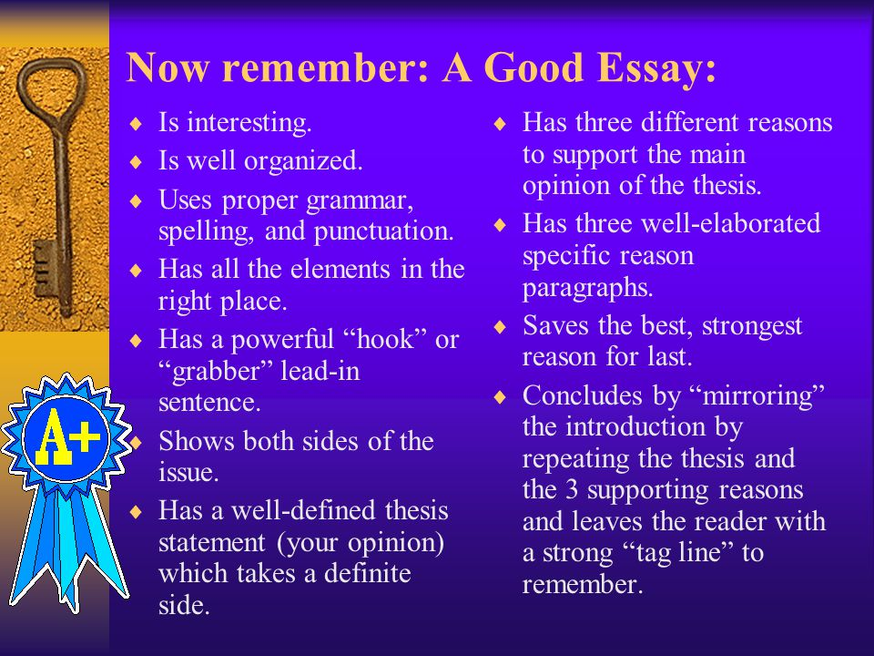 Now remember: A Good Essay:  Is interesting. Is well organized.