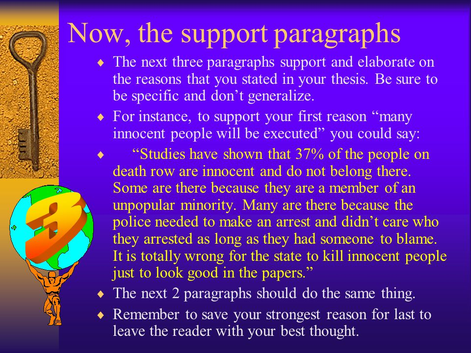 Now, the support paragraphs  The next three paragraphs support and elaborate on the reasons that you stated in your thesis.