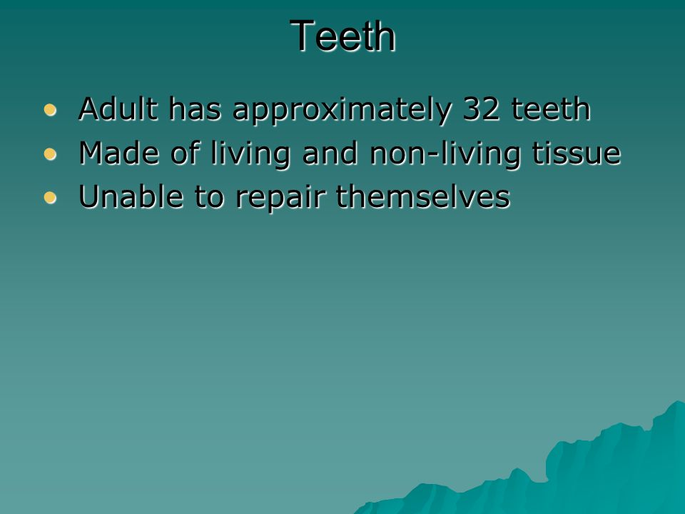 Teeth Structure EnamelEnamel the hardest material in your body, covers a tooth's crown CementumCementum covers a tooth's root and helps to anchor the tooth to the jawbone DentinDentin – –living material that makes up the majority of a tooth PulpPulp – –soft tissue that fills the center of each tooth