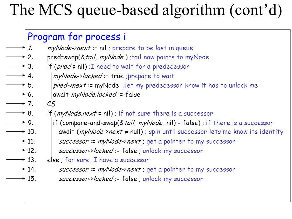 The MCS queue-based algorithm (cont'd)