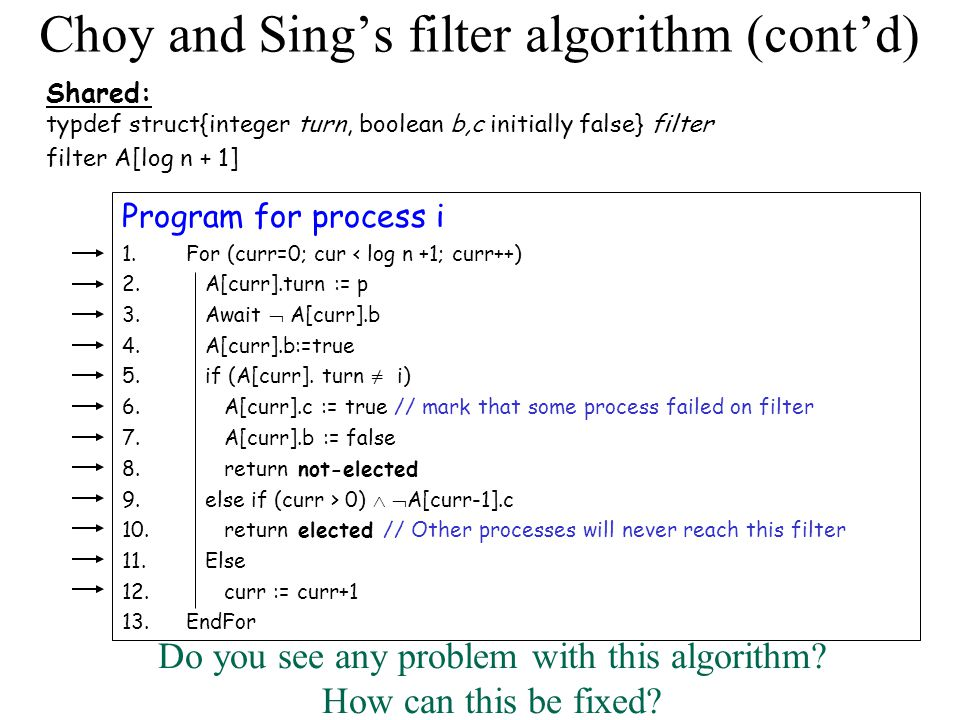 Choy and Sing's filter algorithm (cont'd) What is the DSM RMR complexity.