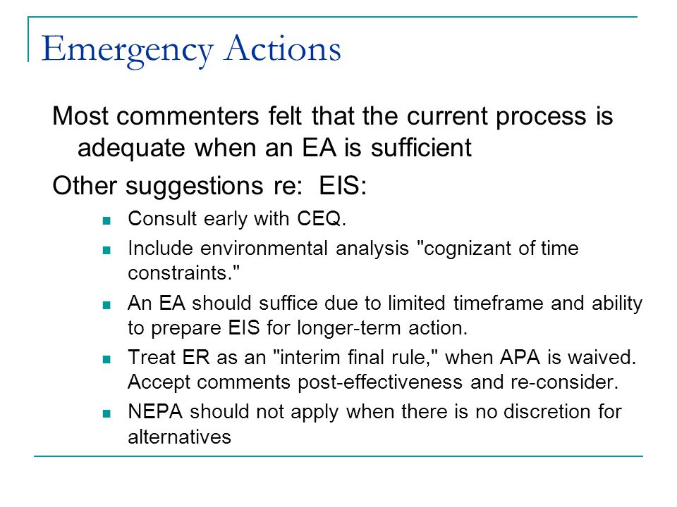 Coordination with Other Applicable Laws Recommendation to review Draft Operational Guidelines and RSP findings with the public Frontloading -- Some commenters noted that agency involvement too late in the process is not desirable Questions about how ESA analysis fits into new environmental review procedure