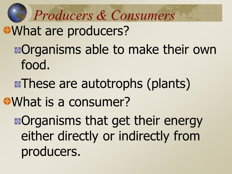 Producers & Consumers What are producers.Organisms able to make their own food.