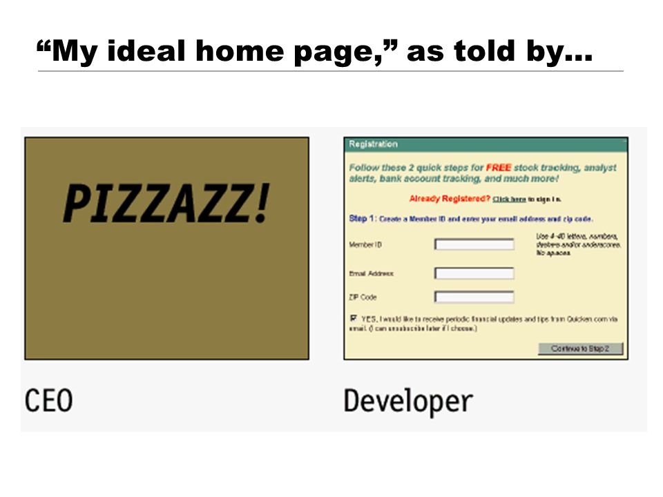 © 2001 Steve Krug My ideal home page, as told by…