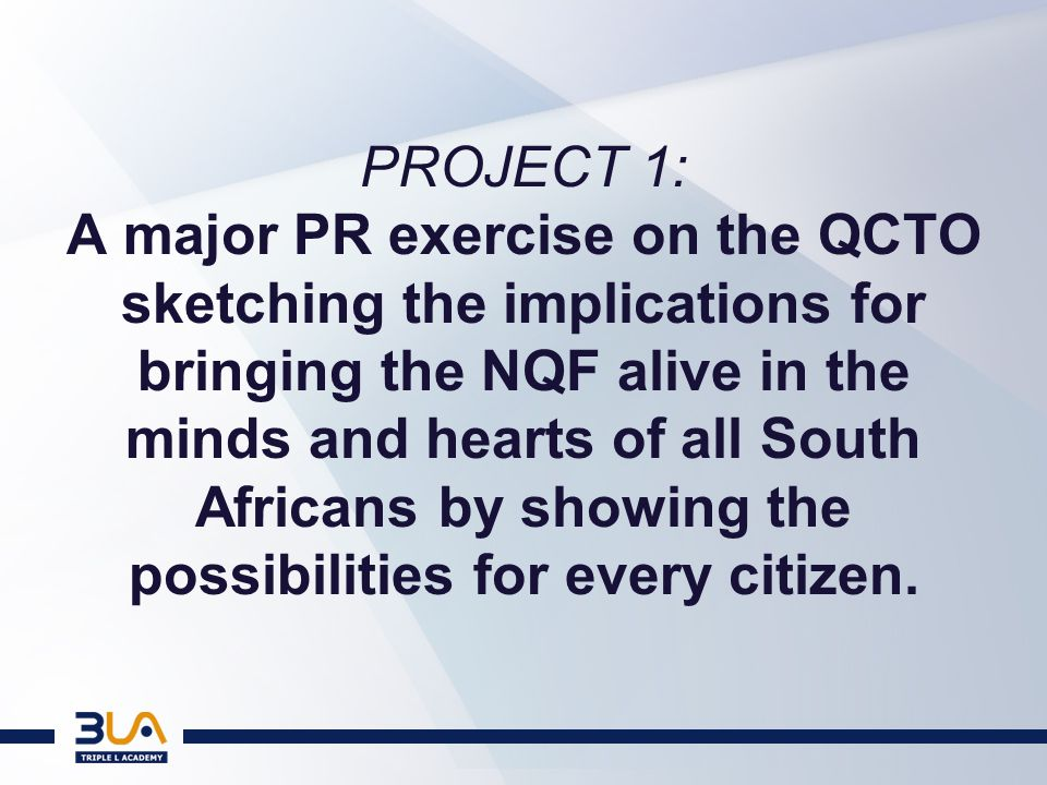 PROJECT 2: Let the SETAs stand up and be counted (after all you don't wait to be invited to start a revolution!) : Define their new role; Rationalize their number; Launch QCTO-Related Initiatives
