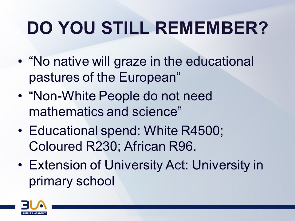 SHOULD WE NOW FORGET APARTHEID.