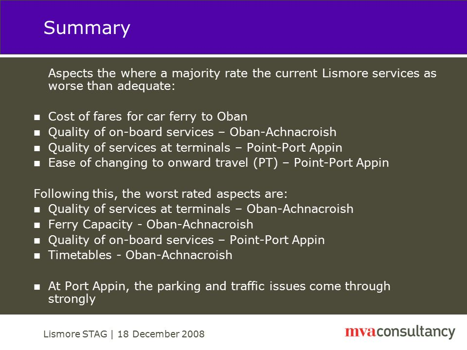 Lismore STAG | 18 December 2008 Transport Planning Objectives and Initial Options