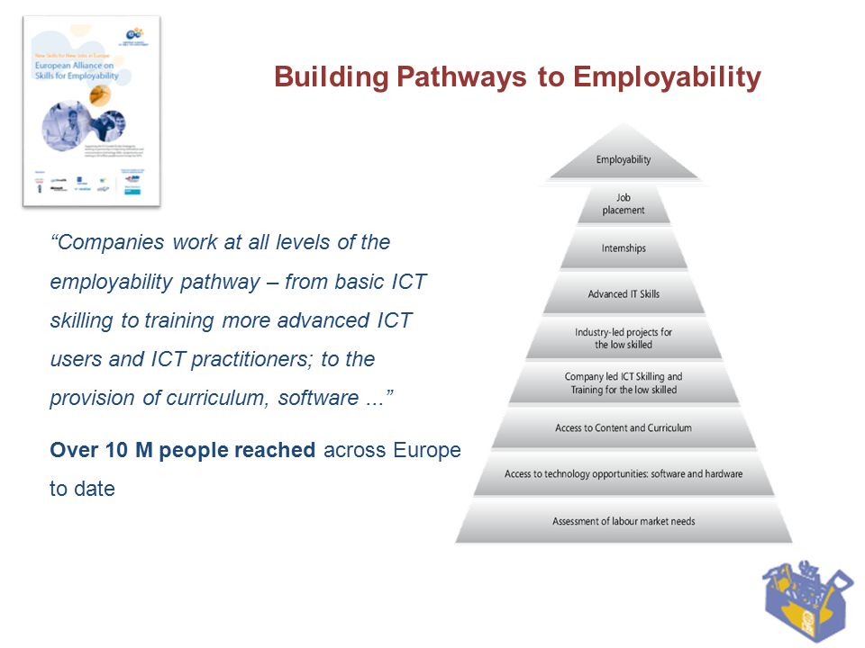 """Features """"Skills for all – not just """"access to all Social impact by targeting underserved communities with concrete support actions End-to-end approach across the whole employability value chain: from training and certification to coaching and job placement Successful example of how collaboration between stakeholders allows for scale and depth in delivering project s results"""