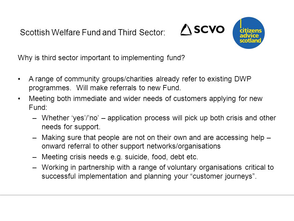 Scottish Welfare Fund and Third Sector Local authorities will already work in partnership with voluntary organisations which provide key points of support for families, people with disabilities, providers of advice and information, etc.