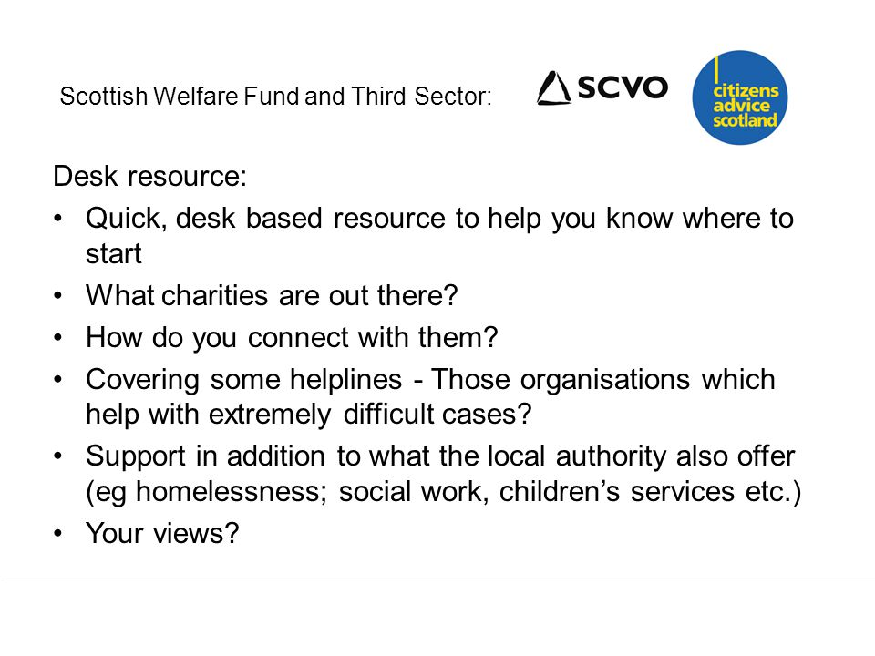 In small groups… Part 1 Look at the (draft) third sector 'desk' guide: – Is it useful.