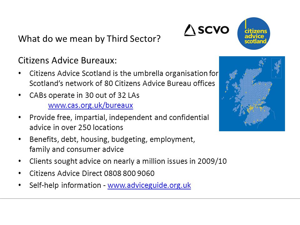 Welfare Reform affects Third Sector In a recent SCVO survey, 63% of respondents said that they would be either directly or indirectly affected by welfare reform (Oct 2012).