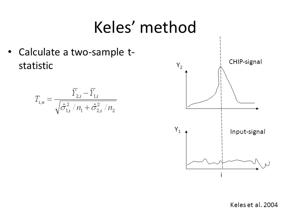 Keles' method Calculate a two-sample t- statistic Y2Y2 Y1Y1 i CHIP-signal Input-signal w Moving average scan-statistic