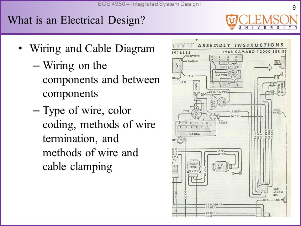 10 ECE 4950 – Integrated System Design I Wiring and Cable Diagram – Reminder: Engineers use Standards when useful or required – DIN 72552 is an European standard for automobile electric terminal numbers, standardizing almost every contact in an automobile with a number code.