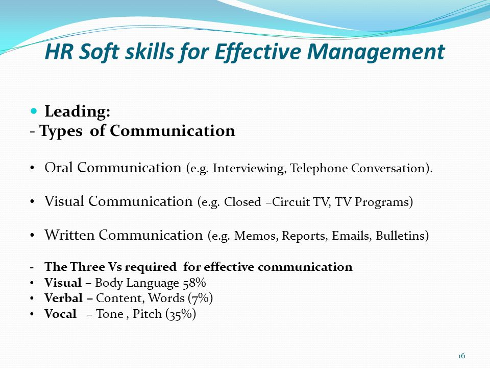 HR Soft skills for Effective Management Leading: - Interpersonal Communication Skills Interpersonal Communication skills refer to how you relate to individuals that you come into contact work.