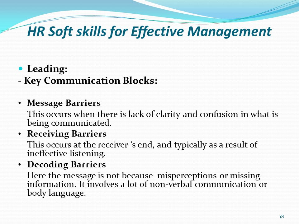 HR Soft skills for Effective Management Leading: - Skills for Good Communication Recognise the Need.