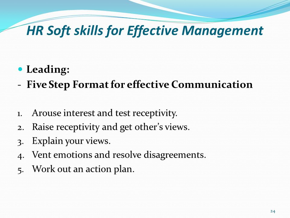 HR Soft skills for Effective Management Leading: - Five Step Format for effective Communication 1.