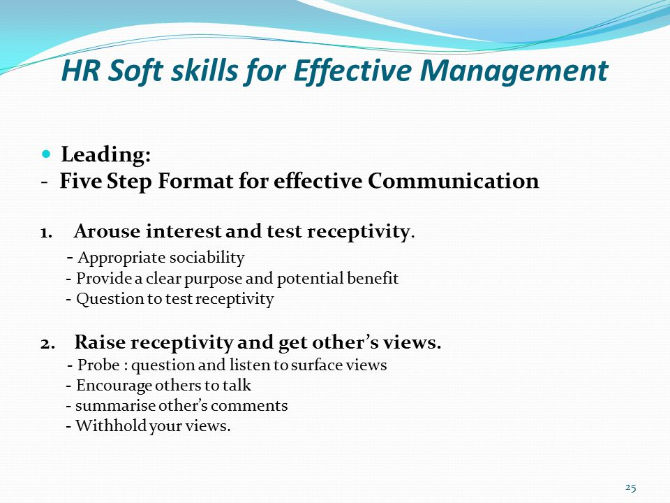 HR Soft skills for Effective Management Leading: - Five Step Format for effective Communication 3.