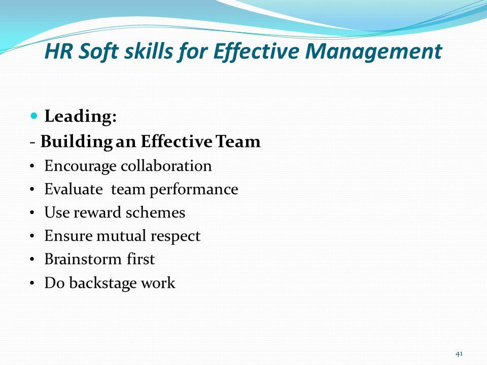 HR Soft skills for Effective Management Leading: - Building an Effective Team Cont'd.