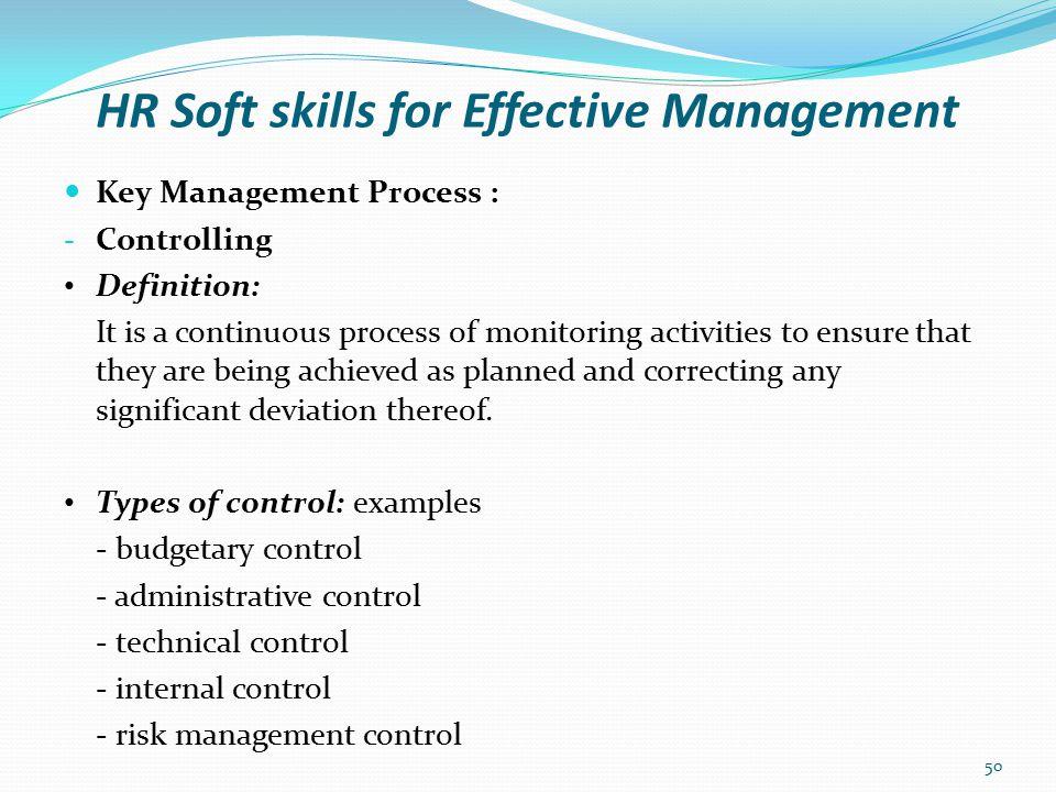 HR Soft skills for Effective Management Key Management Process : - Controlling What is Balanced Scorecard.