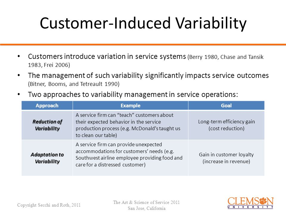 Variability-Reduction Approach Managing Customer-Induced Variability: Variability-Reduction Approach Variation in Service Processes Customer Requests/Expectations Customer Requests/Expectations Service Delivery System Reduce Customer Choice (Frei 2006) Reduce Customer Choice (Frei 2006) Standardize Processes (Levitt 1976; Shostack, 1984) Standardize Processes (Levitt 1976; Shostack, 1984) Decouple Front and Back Office (Chase 1981; Chase and Tansik 1983) Decouple Front and Back Office (Chase 1981; Chase and Tansik 1983) The Art & Science of Service 2011 San Jose, California Copyright Secchi and Roth, 2011