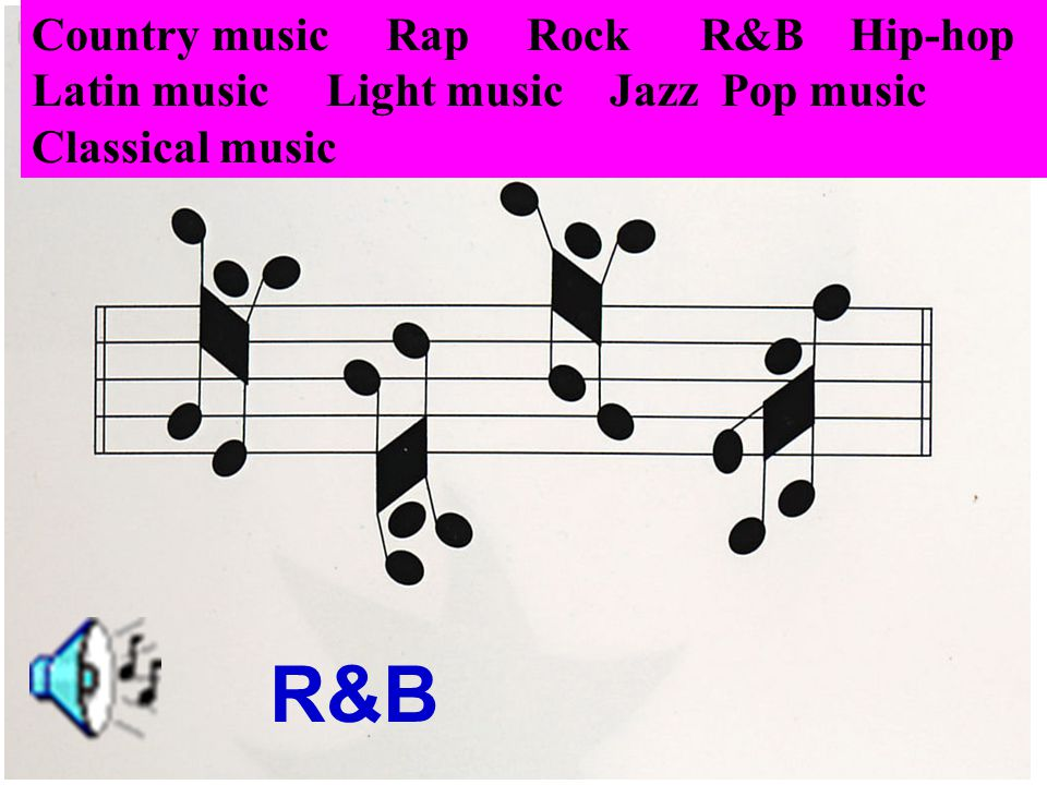 Rock Country music Rap Rock R&B Hip-hop Latin music Light music Jazz Pop music Classical music