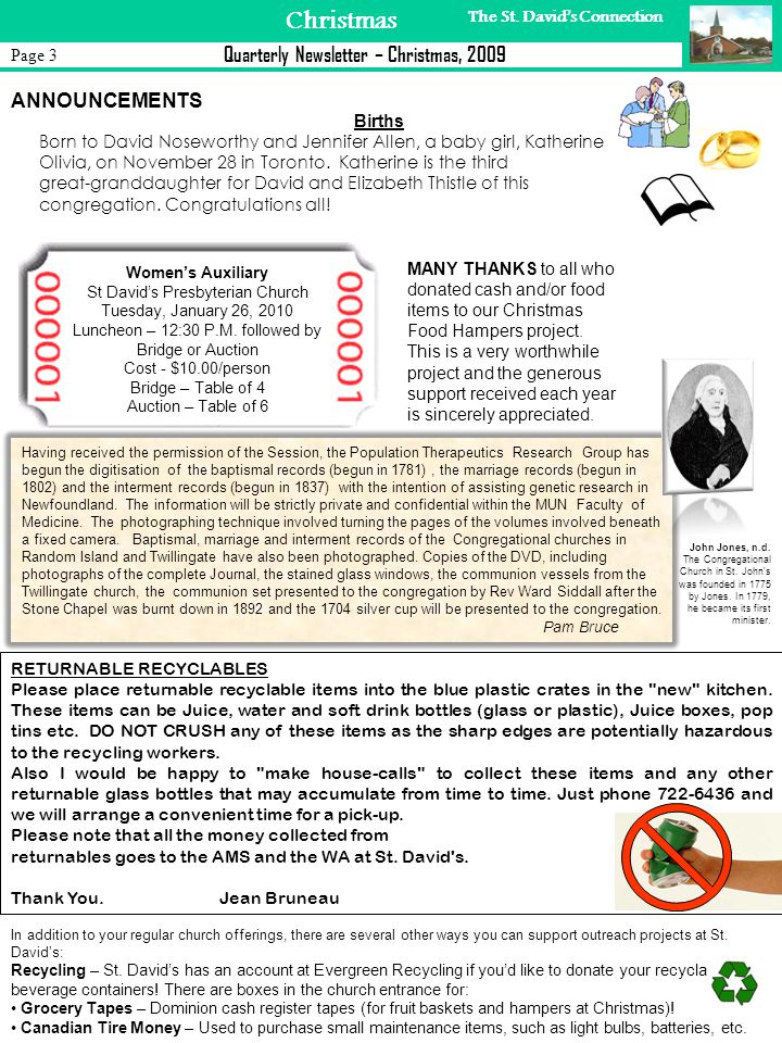 Page 4 Christmas Quarterly Newsletter – Christmas, 2009 The St.