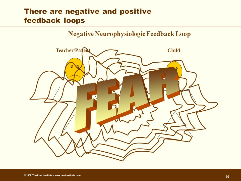 © 2008 The Post Institute – www.postinstitute.com 20 There are negative and positive feedback loops Negative Neurophysiologic Feedback Loop Teacher/ParentChild
