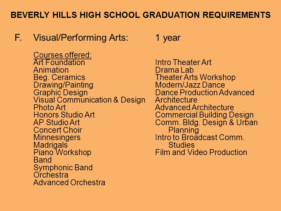 BEVERLY HILLS HIGH SCHOOL GRADUATION REQUIREMENTS G.College Prep Elective:1 year Any course listed in A-F that exceeds the stated graduation requirement can count as a College Prep Elective.