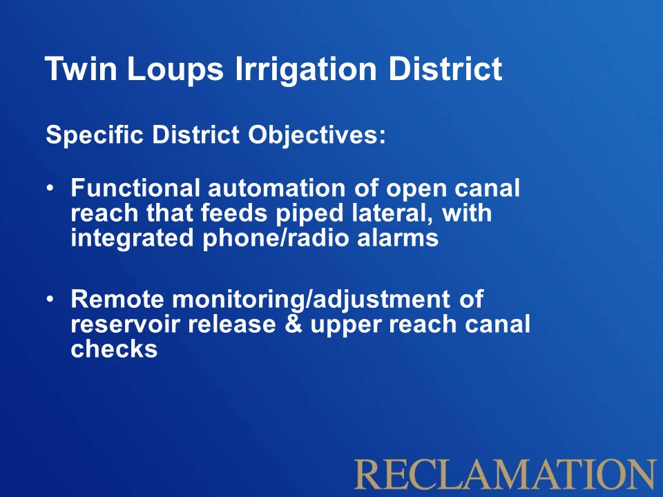 Twin Loups Irrigation District 6.1 Lateral