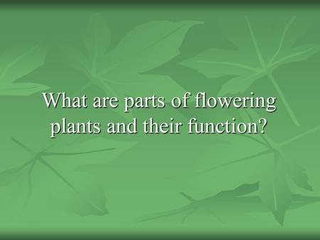 What are parts of flowering plants and their function?