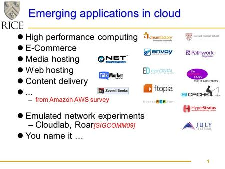 Emerging applications in cloud High performance computing E-Commerce Media hosting Web hosting Content delivery... –from Amazon AWS survey 1 Emulated network.