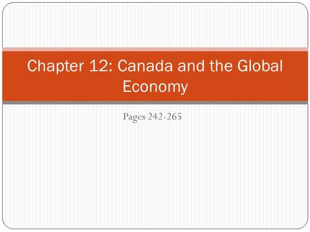 Pages Chapter 12: Canada and the Global Economy.