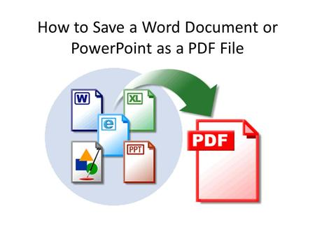 How to Save a Word Document or PowerPoint as a PDF File.