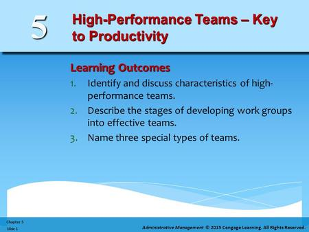 Chapter 5 Administrative Management © 2015 Cengage Learning. All Rights Reserved. Slide 1 5 High-Performance Teams – Key to Productivity Learning Outcomes.