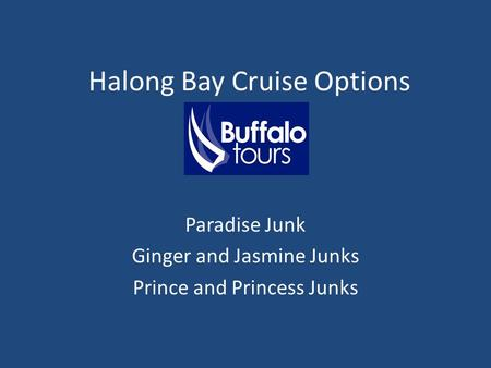 Halong Bay Cruise Options Paradise Junk Ginger and Jasmine Junks Prince and Princess Junks.