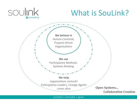 What is SouLink? We believe in Human-Centered, Purpose-driven Organizations We use Participatory Methods. Systems thinking We help organizations unstuck!