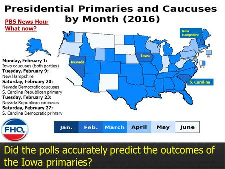 Did the polls accurately predict the outcomes of the Iowa primaries? Iowa New Hampshire S. Carolina Nevada Monday, February 1: Iowa caucuses (both parties)