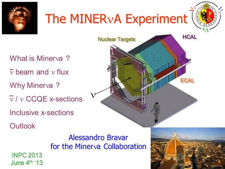 INPC 2013 June 4 th '13 Alessandro Bravar for the Miner a Collaboration The MINER A Experiment What is Miner a ? beam and  flux Why Miner a ? / CCQE x-sections.