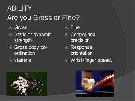 ABILITY Are you Gross or Fine?  Gross  Static or dynamic strength  Gross body co- ordination  stamina  Fine  Control and precision  Response orientation.