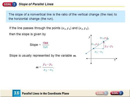 Slope of Parallel Lines The slope of a nonvertical line is the ratio of the vertical change (the rise) to the horizontal change (the run). If the line.