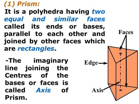 (1) Prism: It is a polyhedra having two equal and similar faces called its ends or bases, parallel to each other and joined by other faces which are rectangles.