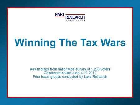 HART RESEARCH ASSOTESCIA Key findings from nationwide survey of 1,200 voters Conducted online June 4-10 2012 Prior focus groups conducted by Lake Research.