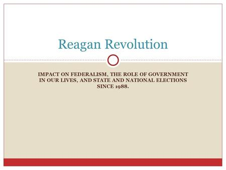 IMPACT ON FEDERALISM, THE ROLE OF GOVERNMENT IN OUR LIVES, AND STATE AND NATIONAL ELECTIONS SINCE 1988. Reagan Revolution.