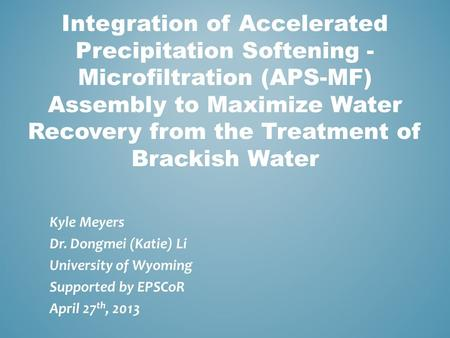 Integration of Accelerated Precipitation Softening - Microfiltration (APS-MF) Assembly to Maximize Water Recovery from the Treatment of Brackish Water.
