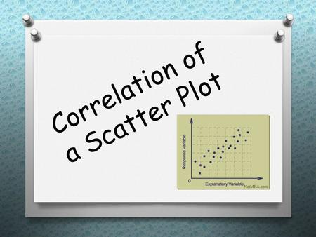Correlation of a Scatter Plot. What is correlation… O It describes the direction and strength of a straight-line relationship between two quantitative.